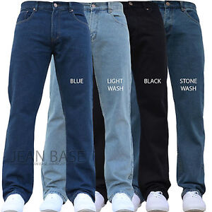 bca3a1a771142 NEW MENS STRAIGHT LEG REGULAR FIT PLAIN BLUE DENIM JEANS ALL WAIST ...