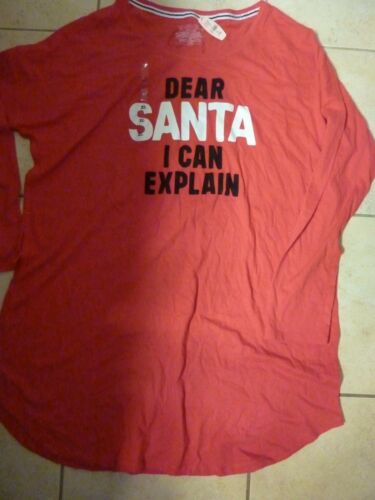 "VICTORIAS SECRET APPLIQUE /""DEAR SANTA I CAN EXPLAIN/""SCOOPNECK SLEEP TEESHIRT NWT"