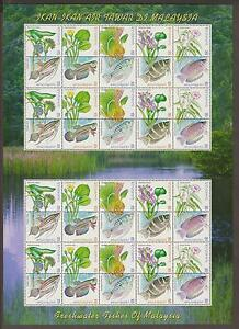 237S-MALAYSIA-1999-FRESH-WATER-FISHES-SHEETLET-OF-4-SETS-FRESH-MNH