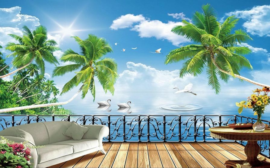 3D Tree Cloud Terrace847 Paper Wall Print Decal Wall Wall Murals AJ WALLPAPER GB
