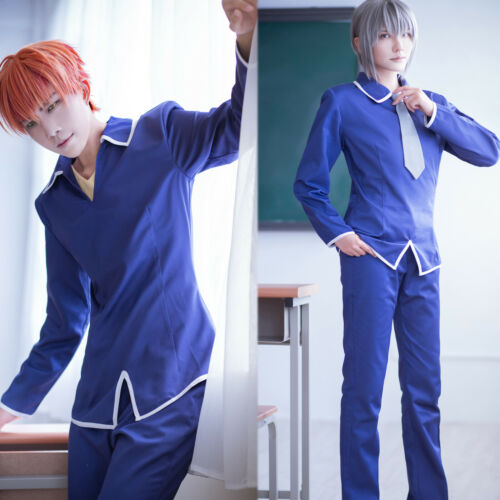 FRUITS BASKET Soma Kyo Soma Yuki Cosplay Costumes Blue Uniform Suit Pants Ties