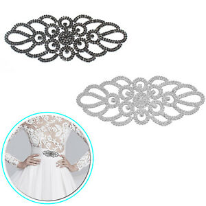 Clear-Diamond-Rhinestone-Silver-Motif-Sew-On-Applique-Party-Dress-Embellishment