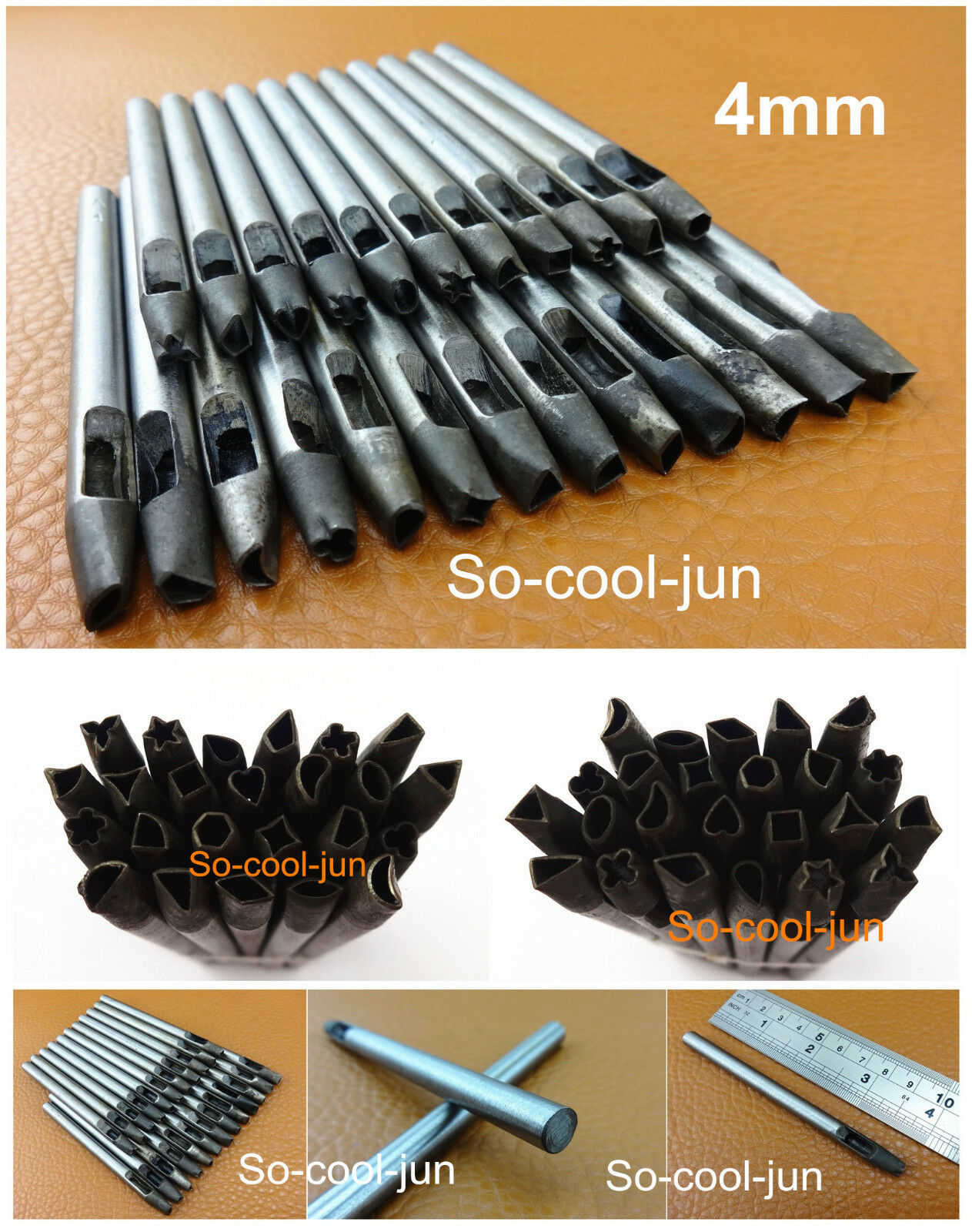 Fine Material for Leather Crafts Bags Nikou 4mm Leather Craft Hole Punch Set Oval Hole Shaped Eyelet Hand Puncher
