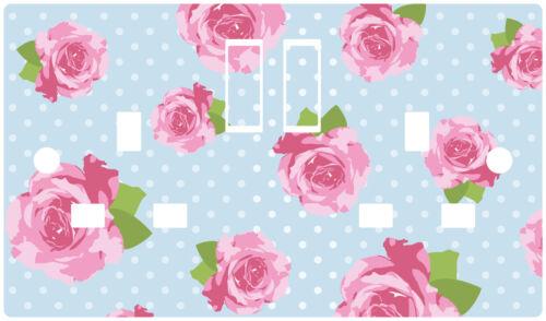 Azul Shabby Chic Rosas Rosa de toma de alimentación pegatina de vinilo piel cubierta calcomanía Floral