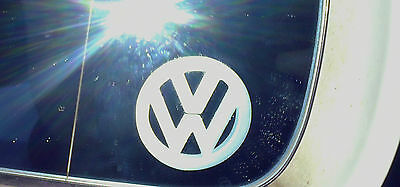 2x Etched Glass VW Mirror Glass Stickers Golf Polo Bora GTi VR6 R32 Beetle T4 T5