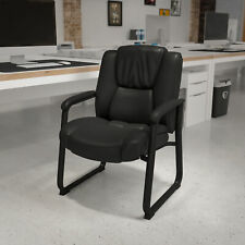 Big Amp Tall 500 Lb Rated Black Leathersoft Tufted Executive Chair Sled Base
