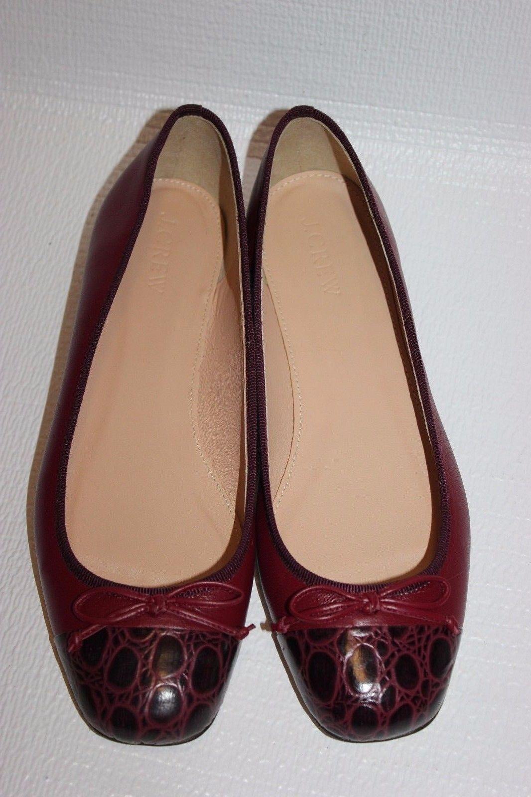NEW JCrew  138 Lily Cap-Toe Ballet Flats Sz 7 7 7 Vivid Burgundy shoes G7843 2dc1f6