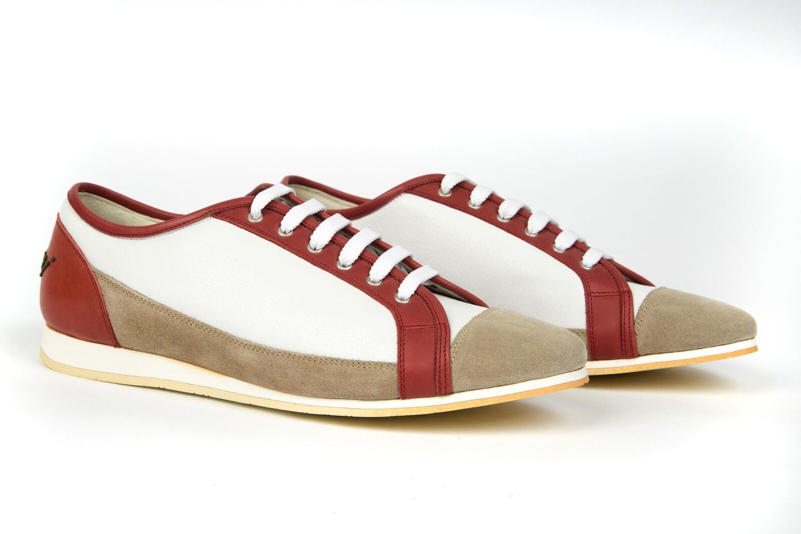 Brioni NIB Red White Beige Leather Suede Fashion Sneakers shoes 41 EU 8 US
