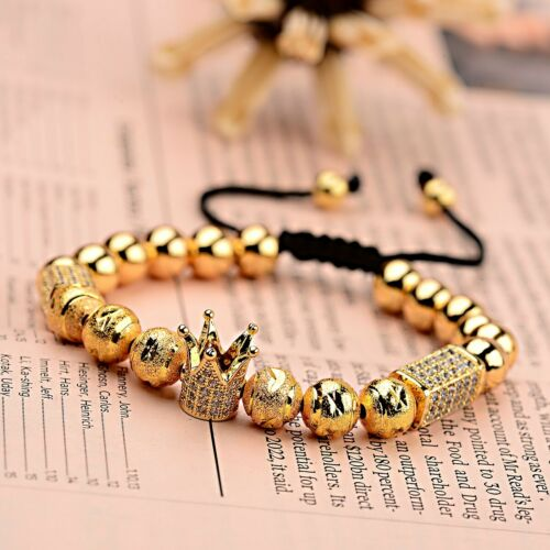 Luxury Men/'s Micro Pave CZ Crown Braided Adjustable Exquisite zircon Bracelets
