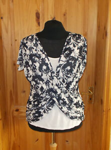 Dark amp;s 46 Sleeve M Navy white Tunic Blue Floral 18 Una Top Per Off Short Ivory qwtZaEZn