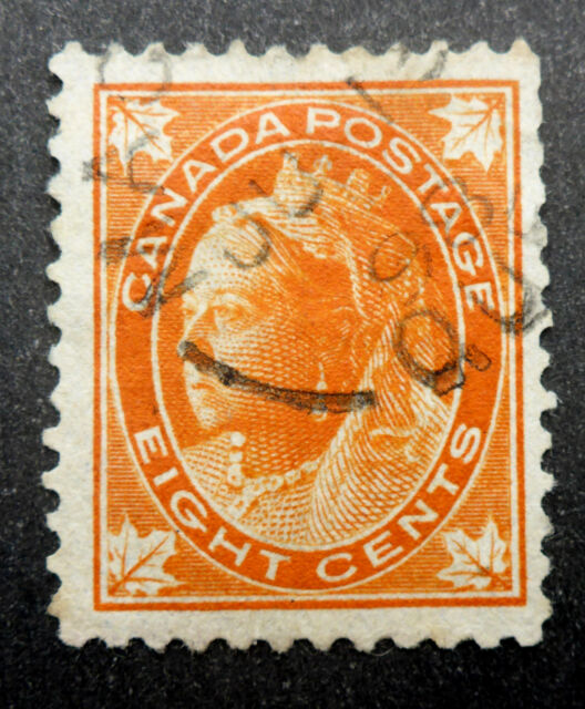 CANADA #72 QUEEN VICTORIA 8 CENT LEAF ISSUE OF 1897 USED F/VF CAT.$16.25