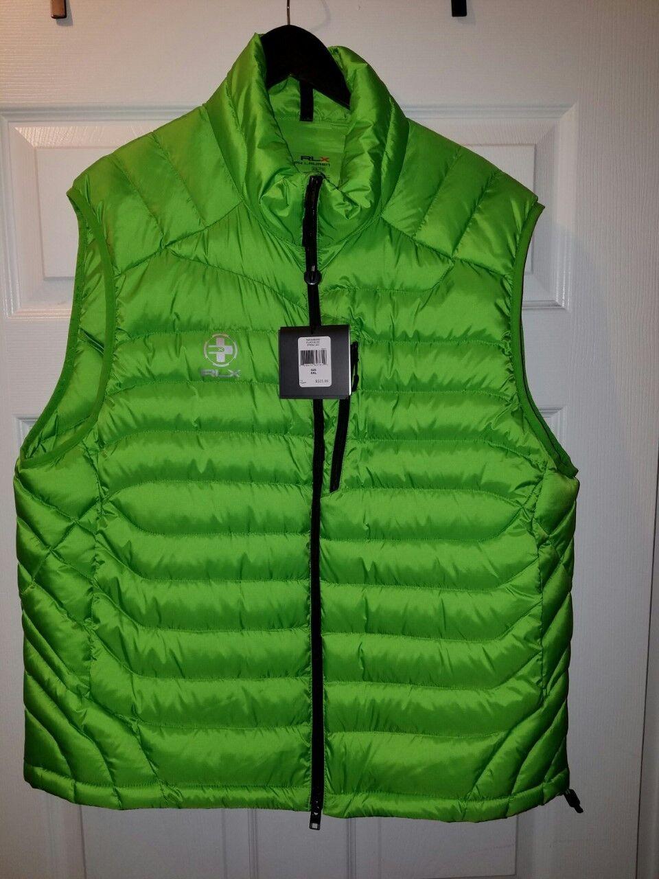 RLX Ralph Lauren Mens Water Repellent Green Down Vest XXL BRAND NEW