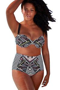 miglior sito web 52d31 48e4b Dettagli su Costume Da Bagno Bikini Vita alta Taglie forti Grandi Curvy  Plus Ov Size XXXL