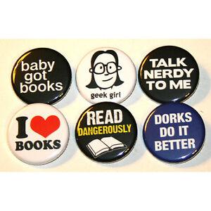 Geeky-Nerdy-Girl-Badges-x6-badge-buttons-pins-book-geek