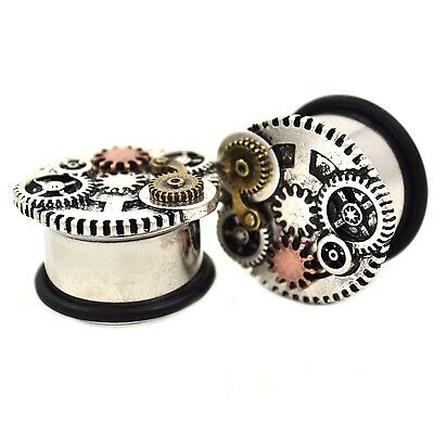 "PAIR - UNIQUE STEEL STEAMPUNK GEARED FACE PLUGS SINGLE FLARED GAUGES (2g-3/4"")"