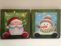 Lighted Santa & Snowman Picture on Canvas w Led Lights Wall Art Christmas Decor