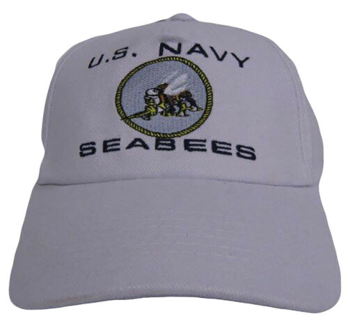 Seabees Embroidered Military White Navy Seabees Baseball Hat Cap RUF