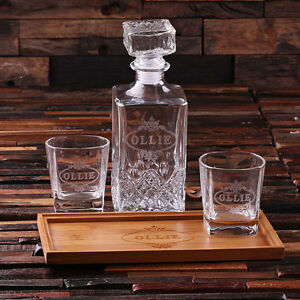 Bar Tray Set with Decanter & 2 Whiskey Glasses Personalized & Monogrammed