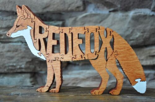 NEW Red Fox Wooden Puzzle Amish Made Scroll Saw Toy Figurine Hunting