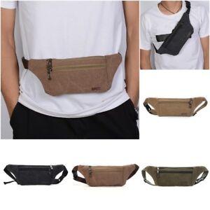 53e389ff0 Women Men Sports Canvas Fanny Pack Waist Bag Running Shoulder Purse ...