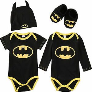 3Pcs Newborn Infant Boy Outfit Bodysuit Toddler Baby Romper Shoes Hat Set Batman