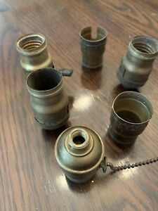 Lot-Of-6-Vintage-Weber-Electric-Lamp-Fatboy-Sockets-Parts-Restore-Brass-2-Shell