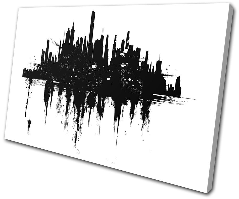 Abstract City skyline Sillouhette SINGLE TELA parete arte foto stampa