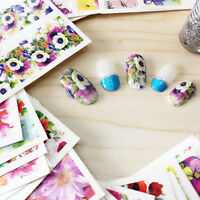 50 Sheets Nail Stickers Mixed Decals Transfer Manicure Tips 3D Nail Art Decor