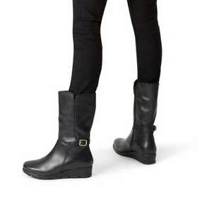 Boots Flat Heel Sz Calf Biker Wedge Carvela Leather 5 Buckle Comfort Mid Black nqTRx