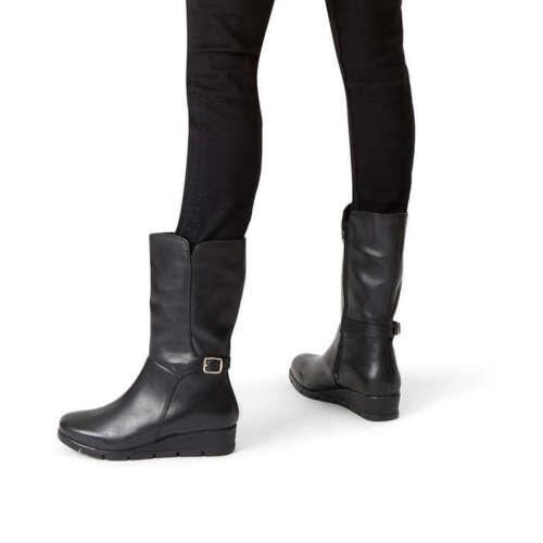 Mid Black Boots Buckle Flat Biker Comfort Wedge Heel Sz Leather Calf Carvela 5 0vwnRxR