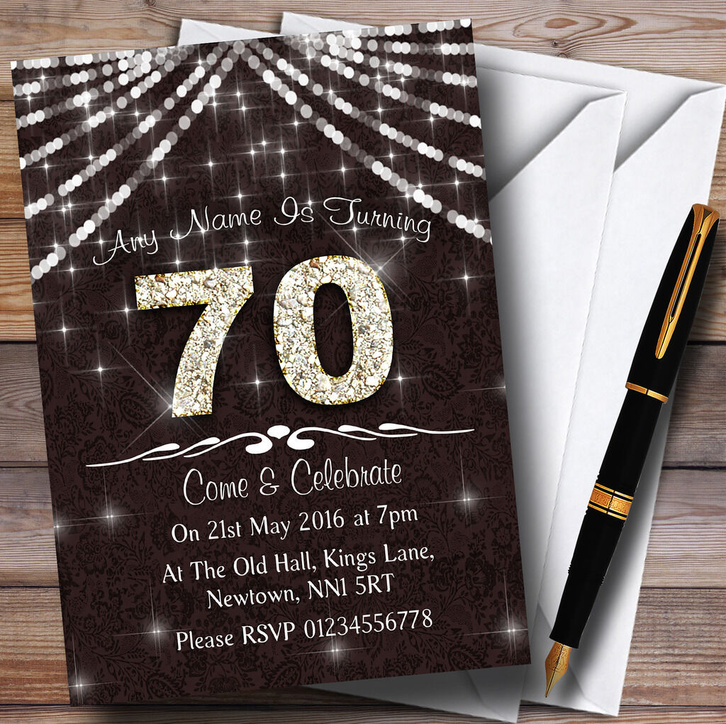 70e Marron  & Blanc invitations  Bling Sparkle birthday party invitations Blanc personnalisées e8e456