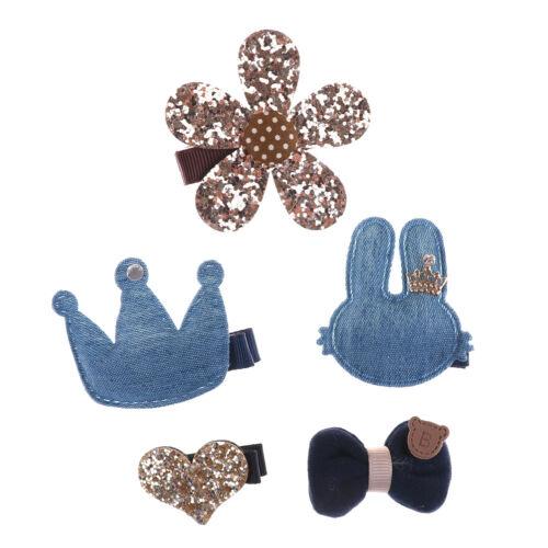 5Pcs Handmade Kids Girls Bowknot Hair Clips Barrette Hairpin Hair Accessories MW