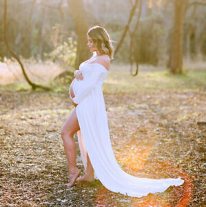Pregnancy Dresses Maternity Gown Boat Neck Clothes For Photography Photo Shoot Ebay