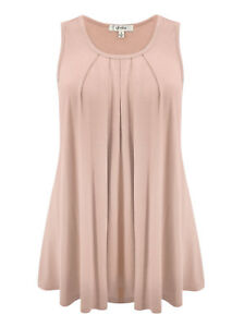 77d9aa79a9c72 Details about LUVAGE Womens Basic Sleeveless Pleated Tank Top Drape for  Summer size XS-6XL