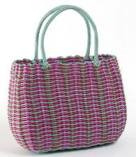 Retro woven shopping basket 1940s & 1950s style multi-stripe