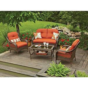 Image Is Loading Patio Furniture Conversation Set 4 Piece Outdoor Garden
