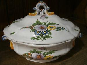 Antica Bellissima ZUPPIERA in Ceramica IMOLA Made in Italy Dec. Fiori 24x32 cm
