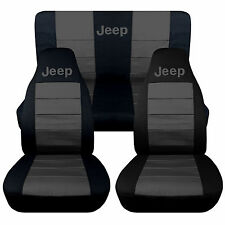 Jeep wrangler TJ Front+Back car seat covers black-charcoal  w/Jeep,SO COOL