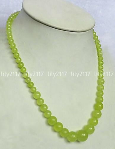 """Belle naturel 6-14 mm Péridot Vert Jade Perles Rondes Gemme Collier 18/"""""""
