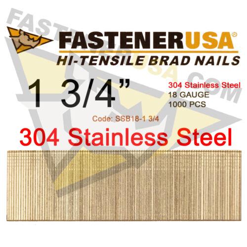 "1,000 ct 1 3//4/"" 18 Gauge Straight Brad Finish Nails Stainless Steel 18 ga"
