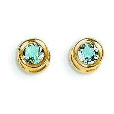14K Yellow Gold March Birthstone Genuine Aquamarine 4mm Round Cut Post Earrings