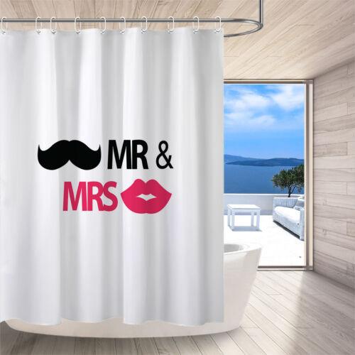MR /& MRS Red Lips Home Decor Waterproof Fabric Shower Curtain Bathroom Mat Hooks