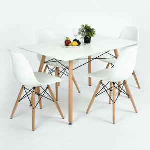 5-Piece-Dining-Table-Set-White-Wood-and-4-Chairs-Kitchen-Dining-Room-Furniture