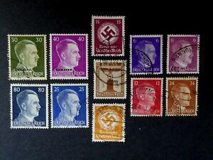 Deutsches Reich - 8x Adolf Hitler, 3x Dienstmarke (2x mit HK, 1x NSDAP)