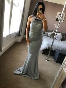 Quiz-Grey-Sequin-Flower-Dress-Ball-Gown-Long-Fishtail-Maxi-Evening-Prom-UK