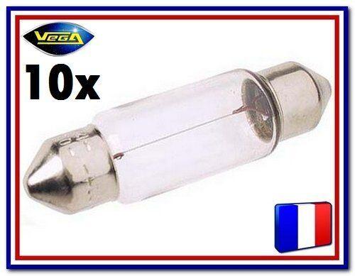 """10 Ampoules Vega® /""""Maxi/"""" navette Festoon C5W C10W T10.5 36 mm sv8.5 12844 12V"""