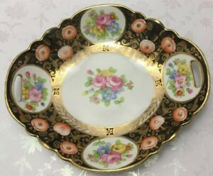 HAND-PAINTED-NIPPON-HEAVY-GOLD-W-PINK-amp-RED-ROSES-PLATE-BOWL-BLACK-BACKGROUND