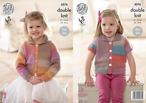 2004ee44b King Cole 4576 Knitting Pattern Girls Easy Knit Cardigans in King ...