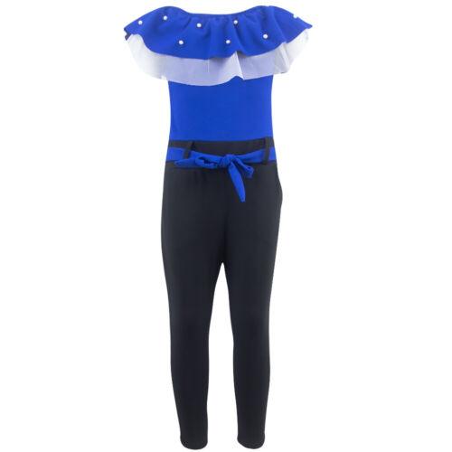 Las chicas Jumpsuit overall traje de pantalón onesie Manga corta Verano Azul