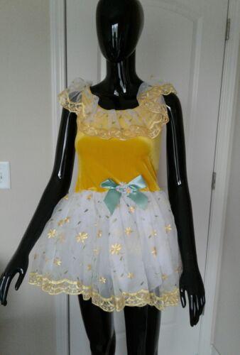 "Revolution Dancewear Costume /""Daisy A Day/"" Yellow with Daisy Flowers XXL"